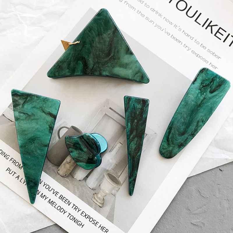 Phong Cách nhật bản Phụ Nữ Cô Gái Tam Giác Hình Học Tóc Claw Jaw Clip Đồ Trang Sức Cổ Điển Kết Cấu Ngọc Lục Bảo Màu Xanh Lá Cây Mini Những Tiếng Nổ Phía Barrette