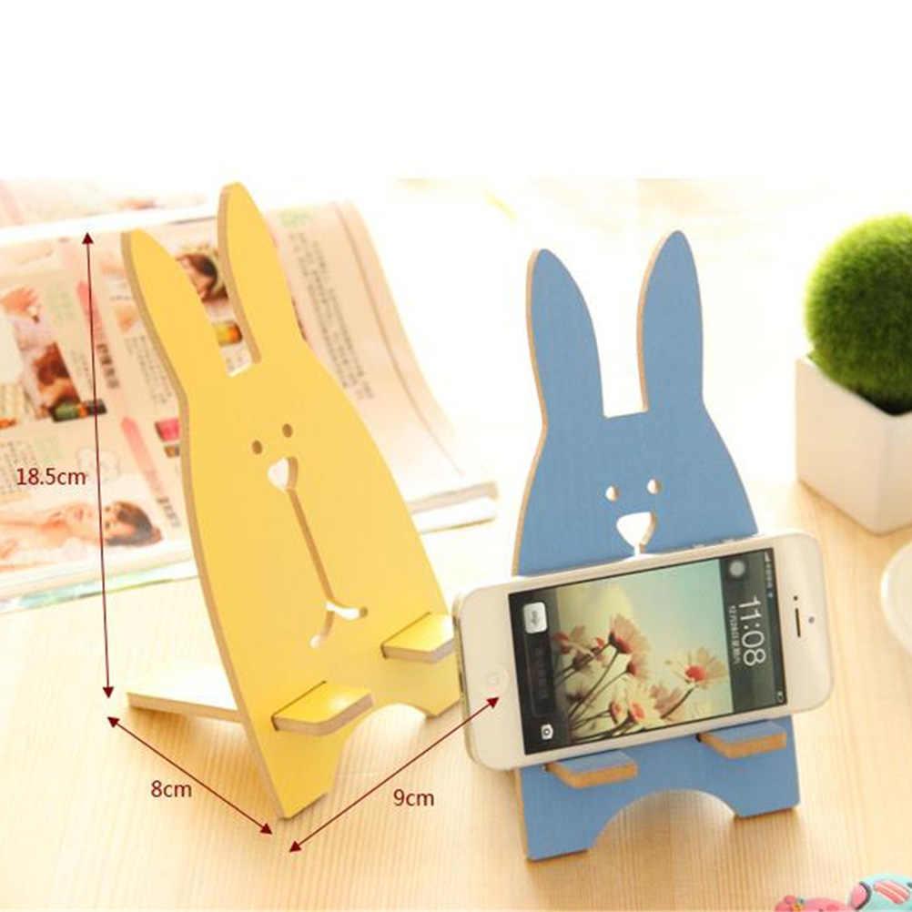 Милая деревянная ручка держатель для карандашей Kawaii Подставка-органайзер для ручек креативный офисный держатель для мобильного телефона с кроликом подставка