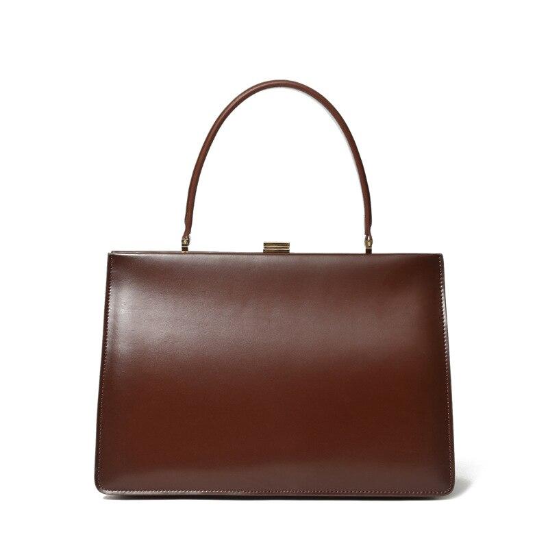 Vintage en cuir de vachette grand sac femmes en cuir véritable sac à main OL dames sacs à main femme en métal embrayage fourre-tout pour femmes sac à main bolso