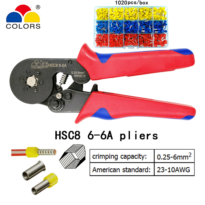 купить COLORS HSC8 6-6A 0.25-6 mm2 23-10 AWG crimping pliers with 1020pcs tube type needle type terminal crimp hexagon mini tools по цене 477.34 рублей