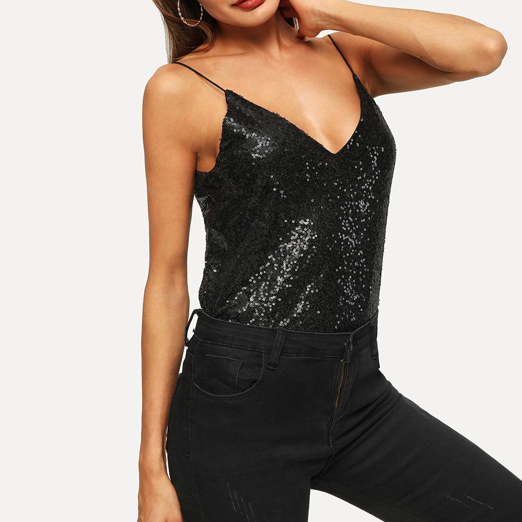 2019 Fashion Women Tank Top Sexy Solid V-Neck Sleeveless Cold Shoulder Sequins Crop Camis Top Strapless Vest Streetwear Female