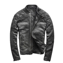 2015 The new Star Same paragraph Do the old Cowhide Collar Locomotive Men's leather jackets Men's leather motorcycle