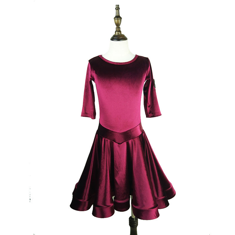 Latin Dance Dress For Girls Red Wine Velvet Short Sleeve Salsa Dancing Dresses Tango Clothes Performance Practice Wear DN1346