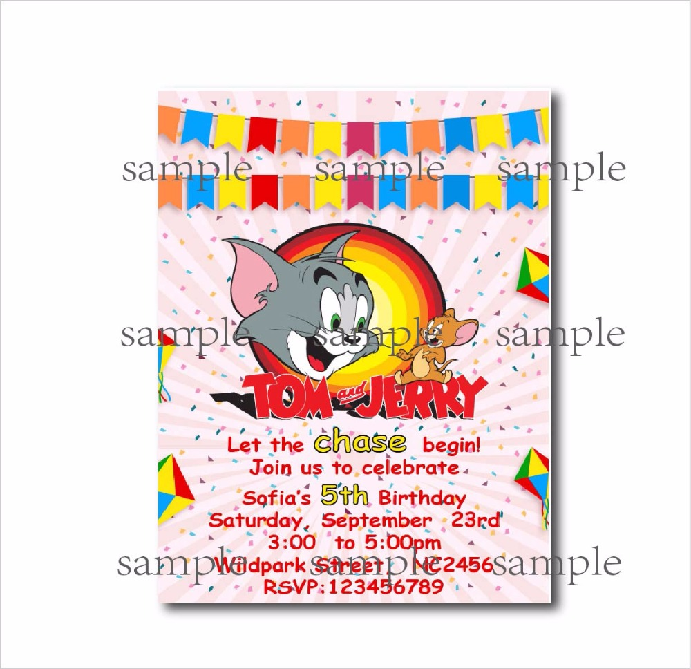 20 pcs/lot Tom and Jerry Birthday party invitations Girl Baby Shower ...