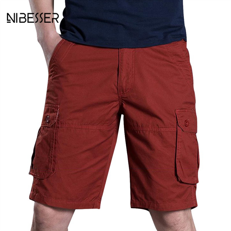 NIBESSER Loose Baggy Casual Shorts Men Summer Cargo Shorts Military Zipper Knee Length Plus Size Cargo Short Solid Tactical