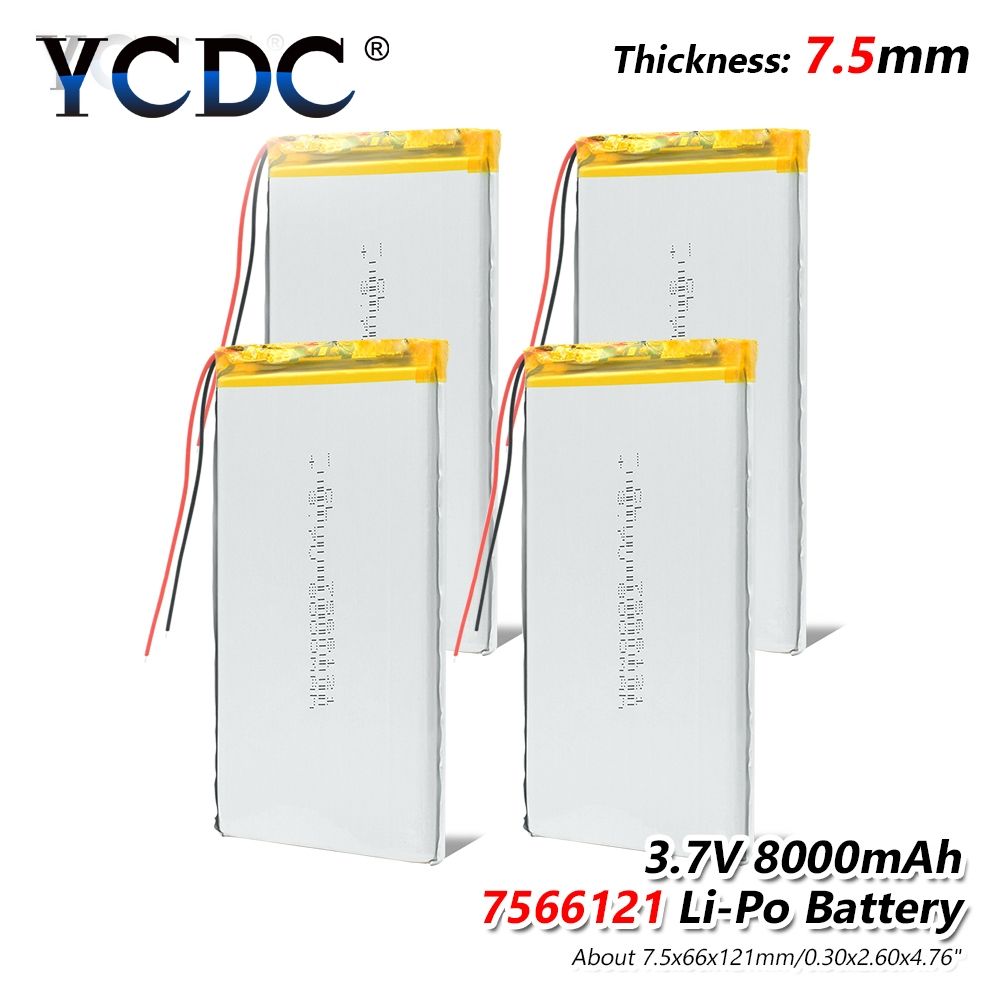 1 2 4pcs 3 7V 8000mAh Li Po Rechargeable Battery 7566121 For Tablet DVD MID GPS