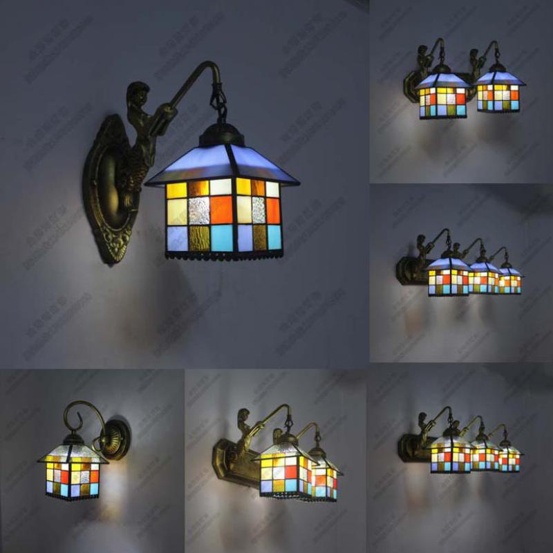 Vintage Retro Handmade Mediterranean Sea Tiffany Glass Little House Iron Led E27*1/2/3 Wall Lamp Bathroom Mermaid Mirror Light little house in bakah 3 иерусалим