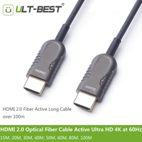 ULT BEST HDMI 2.0 Optical Fiber Cable Active Light High Speed Ultra HD 4K60Hz HDMI2.0 Subsampling 4:4:4/4:2:2/4:2:0 50m 80m 100m