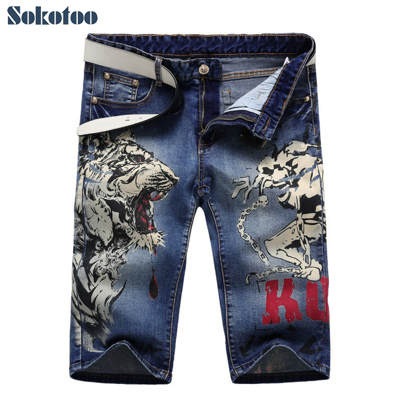 Sokotoo Mens fashion tiger and girl print jeans Male knee length slim straight stretch denim shorts Capri
