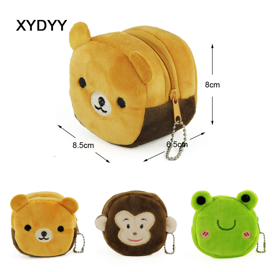 XYDYY Kawaii Bear Monkey Frog Prints Women Girls Plush Coin Purse Daily Cylindrical Keychain Change Pouch Purse Wallet Handbag 2018 huge giant plush bed kawaii bear pillow stuffed monkey frog toys frog peluche gigante peluches de animales gigantes 50t0424