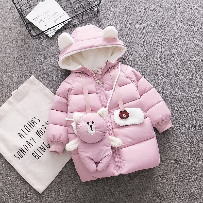 Korean Children Girls Long Soild Cartoon Bear Hooded Zipper Warm Winter Outwear High Quality Kids Girls Cotton Padded Coat good 2017 winter fashion long coat slim thickened turtleneck warm jacket hooded cotton padded zipper plus size outwear casacos