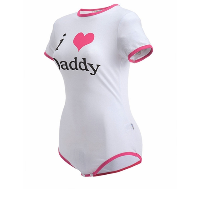 ABDL Onesie Diaper Lover Snap Crotch Romper Onesie Pajamas – I Love Daddy Pattern