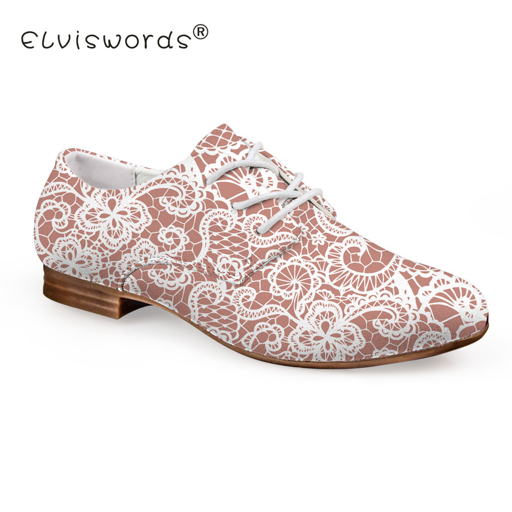 ELVISWORD Lace Printed Flat Shoes Women Lace-up Leather Shoes for Ladies Pink Dress Shoes Females Fashion Oxford Footwear refreshing pink skull printed elastic pleated dress for women