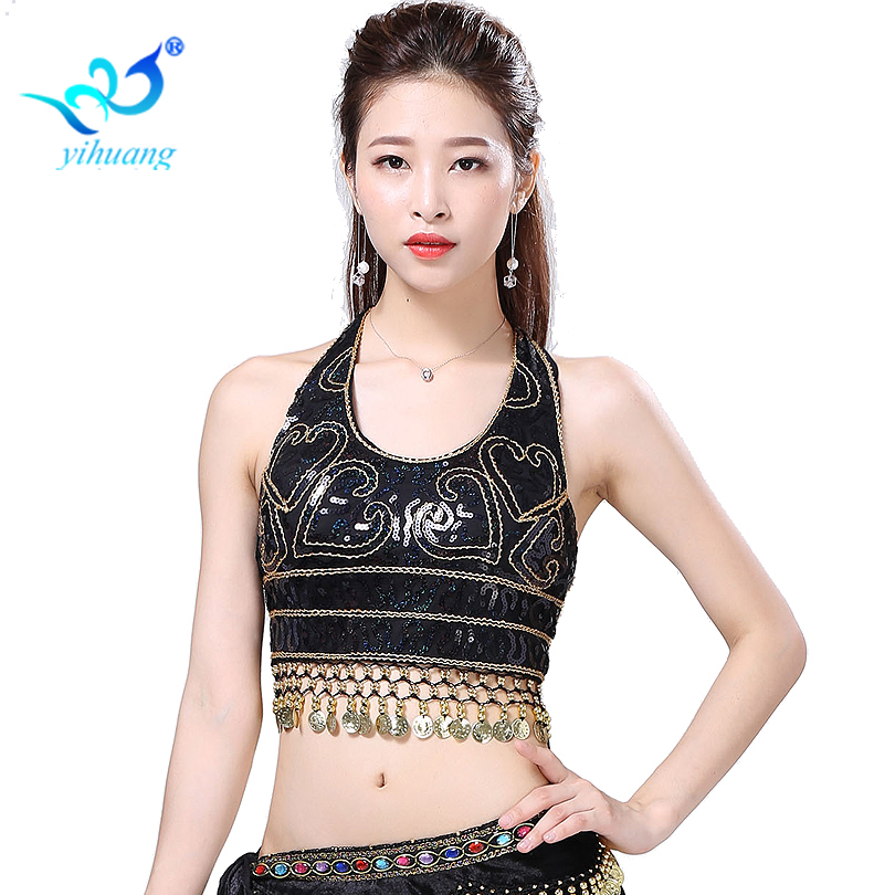 fc6adcd63c Detail Feedback Questions about Ladies Belly Dancing Costume Bra Party  Sequin Bellydance Blouses Performance Outfits Stage Show Tops Lace up Coins  on ...