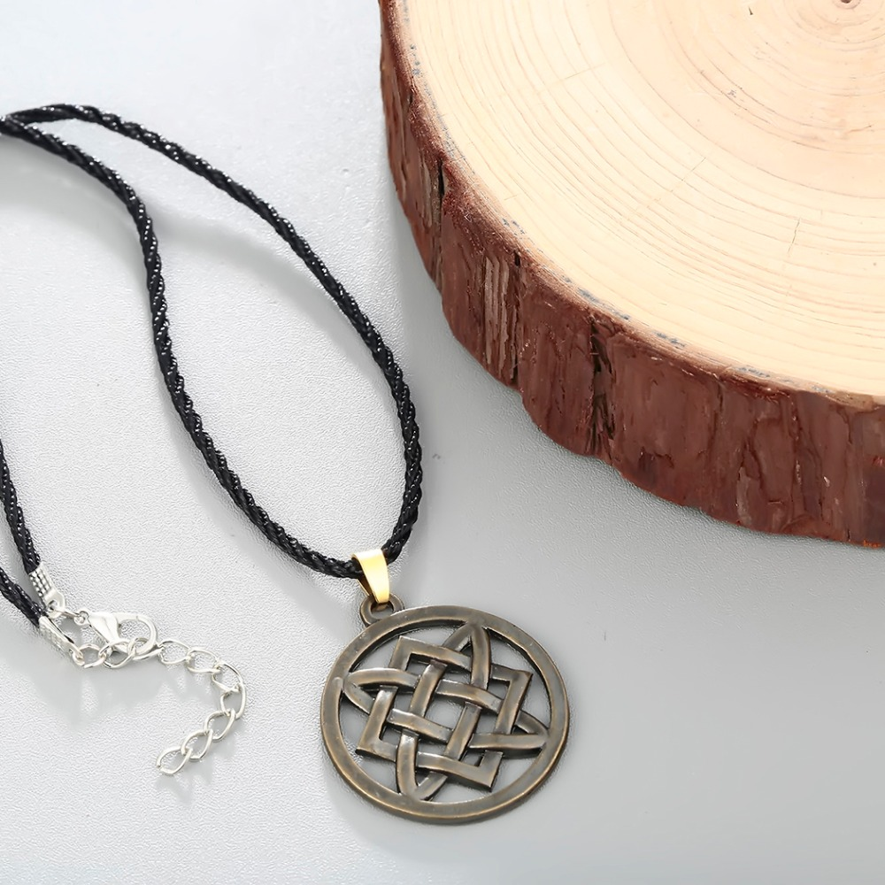CHENGXUN Vintage Slavic jewelry Women Men Lada Star Pendant Necklace Adjustable Rope Chain Choker Collier Protection Amulet 5