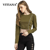 VITIANA Women Casual Crop Tops Spring Green Long Sleeve Sexy Slim Short Pullover Female Elegant Hip