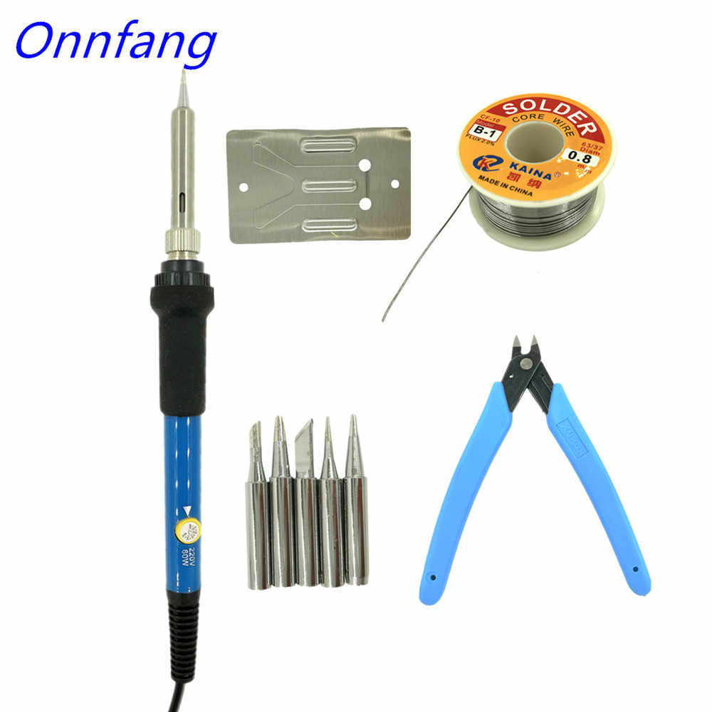 60W Electric Soldering Irons Temperature Adjustable Electric Iron Mini Handle Heat Pencil Soldering Iron 110V to 220V