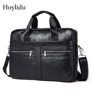 Genuine Leather Men's Business Briefcase American Vintage Style Large Capacity Male Handbags Travel Shoulder Bags Messenger Bag