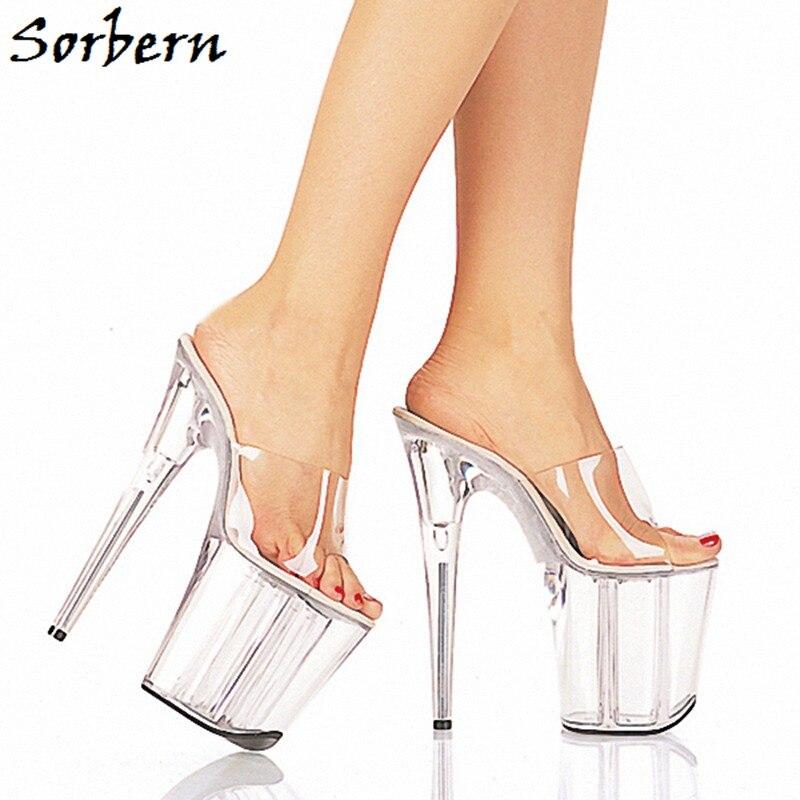Sorbern 투명 단독 플랫폼 슬리퍼 사용자 정의 만든 된 색상 하이힐 여름 파티 여성 신발 크기 10 숙 녀 슬리퍼 패션-에서슬리퍼부터 신발 의  그룹 2