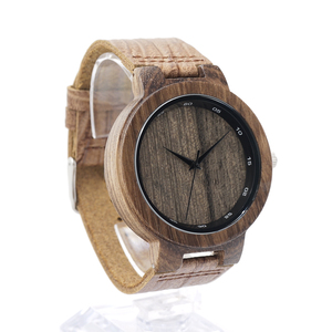 Image 3 - BOBO BIRD Wooden Quartz Men Watches Casual Leather Strap Analog Watch With Gift Box