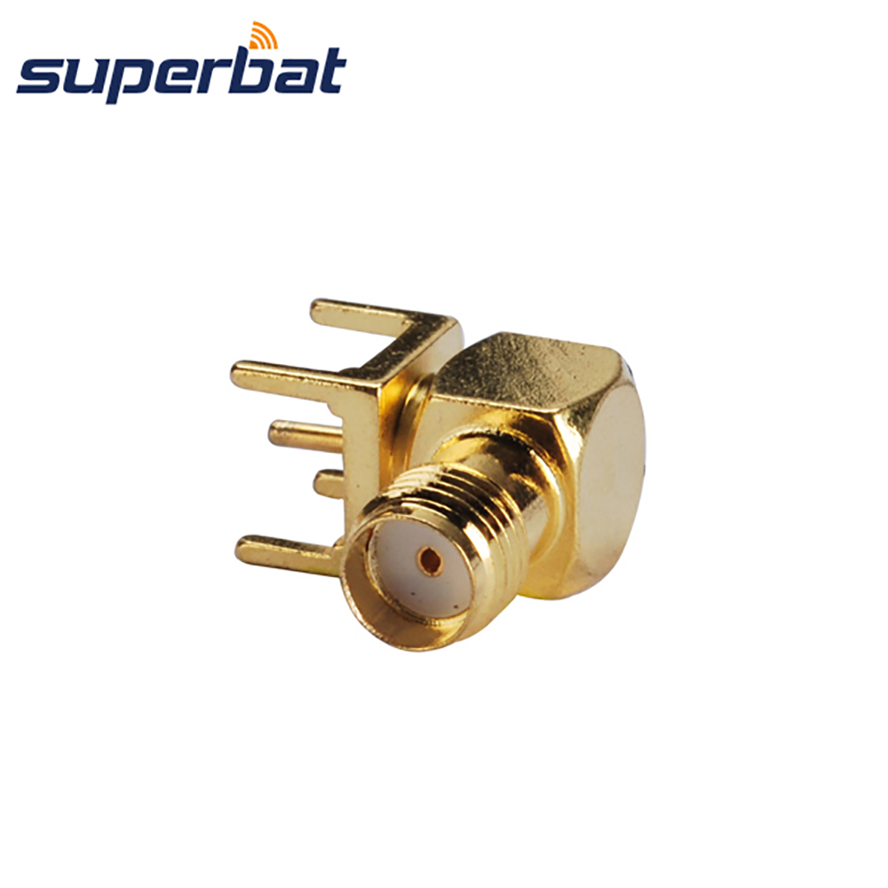 Superbat SMA thru hole Female Jack Right Angle PCB Mount Short Version RF Coaxial Connector