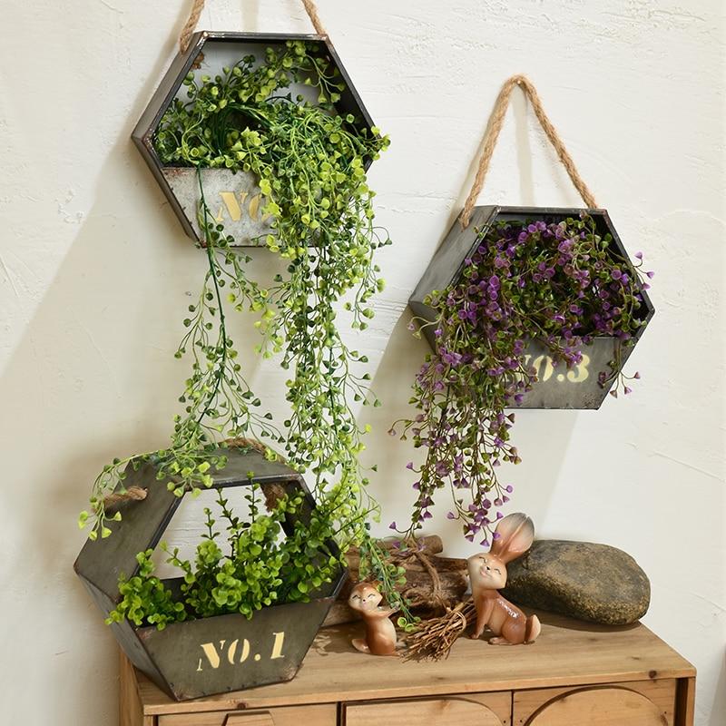 Online 2017 Creative High Quality Iron Pot Flower Wall Hanging Garden Vintage Pendant Basket Home Decoration Aliexpress