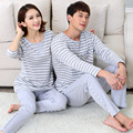 New spring and autumn couple's 100% Cotton Striped pajamas set cartoon cute night clothes home wear