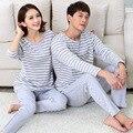 Nova primavera e outono casal 100% Algodão pijama Listrado definir bonito dos desenhos animados da noite roupa desgaste casa