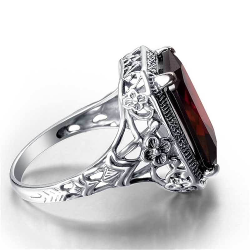 Bague Ringen Rectangle Vintage Red Ruby Rings For Women New Fashion Gemstone Silver 925 Jewlery Ring