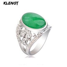 Natural Green Jasper Stone Antique Silver Ring for Women Oval setting Hollow out Crystal Tibetan Men Finger Rings Jewelry(China)