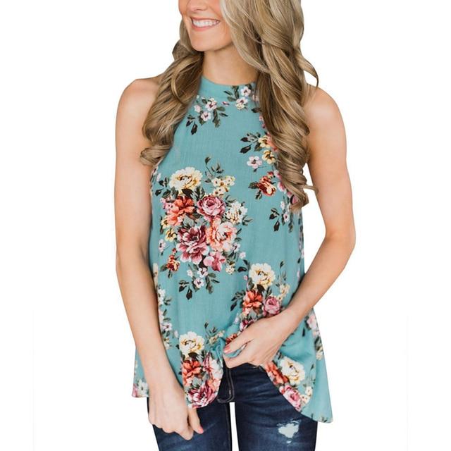 Elegant Sleeveless Halter Womens Chiffon Tops Blouses Vintage Floral Printed Summer Boho Beach Shirts Backless Slim Blusas Mujer