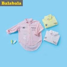 Купить с кэшбэком balabala Children Girls Long-sleeved Shirt Cotton Spring Autumn New girls blouses Breathable Comfortable Shirts For Kids Girls
