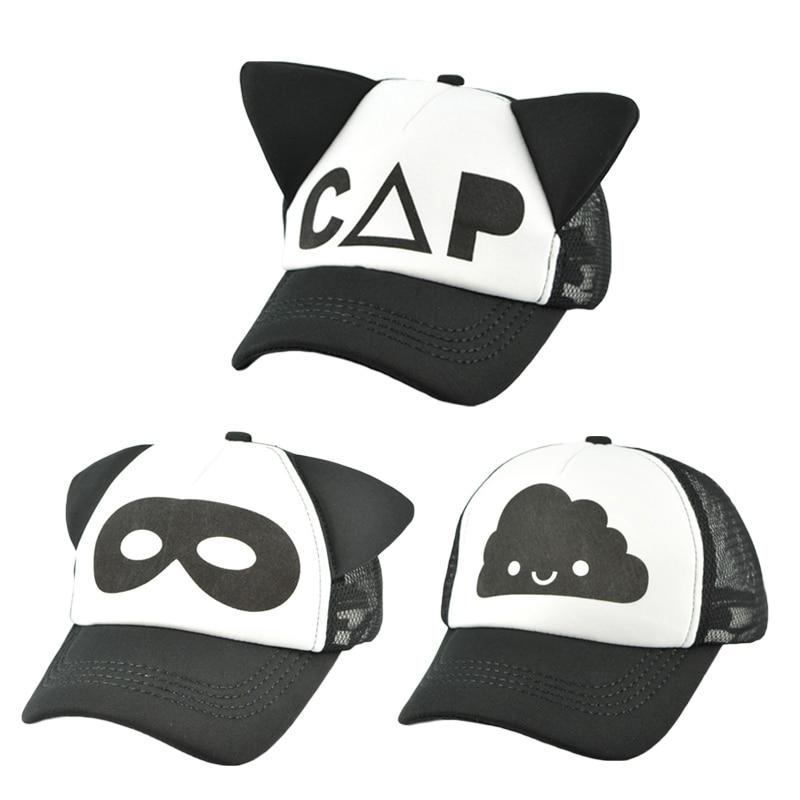 Children Black White Baseball Cap Baby Cute Ear Summer Mesh Sun Hat Kids  Trucker Flat Caps e35505ae850d