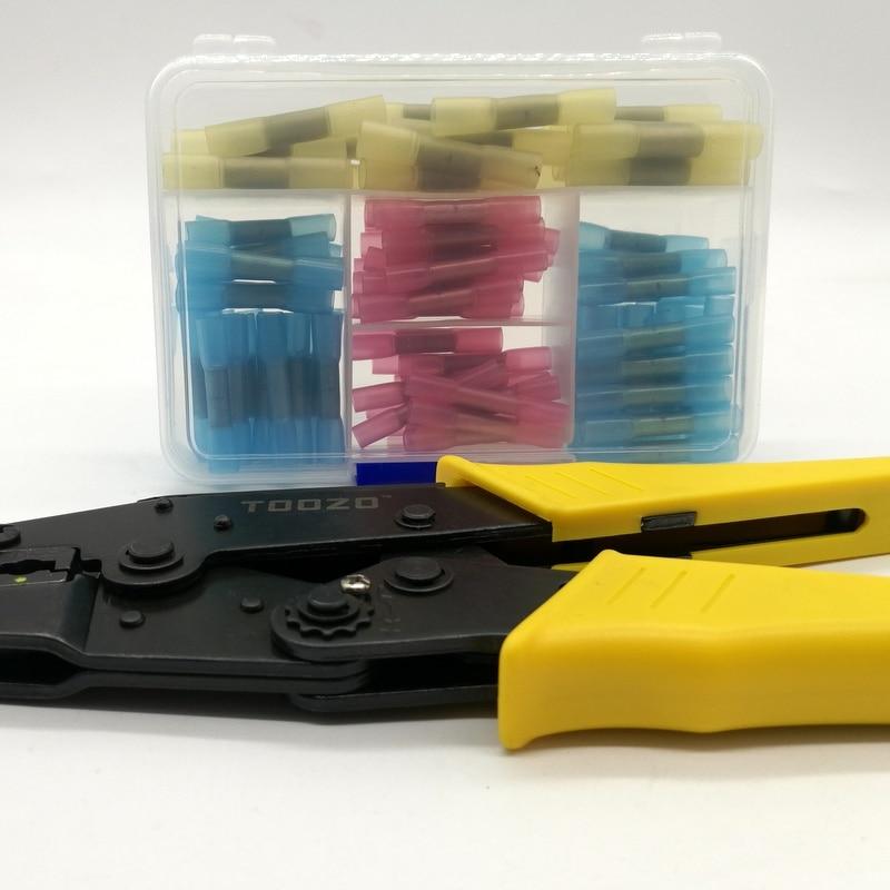 Купить с кэшбэком Hot Melt Glue Inside Water-proof Terminal 100pcs Mixed BHT 1.25 2. 5 .PE Heat Shrink Butt Crimp Terminals and  Crimp Plier tool
