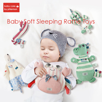 Baby Appease Towel Rattle Toys Cartoon Animals Plush Doll Comfort Hand Puppet with Sound Paper Sleeping Grasping Soft Calm Doll