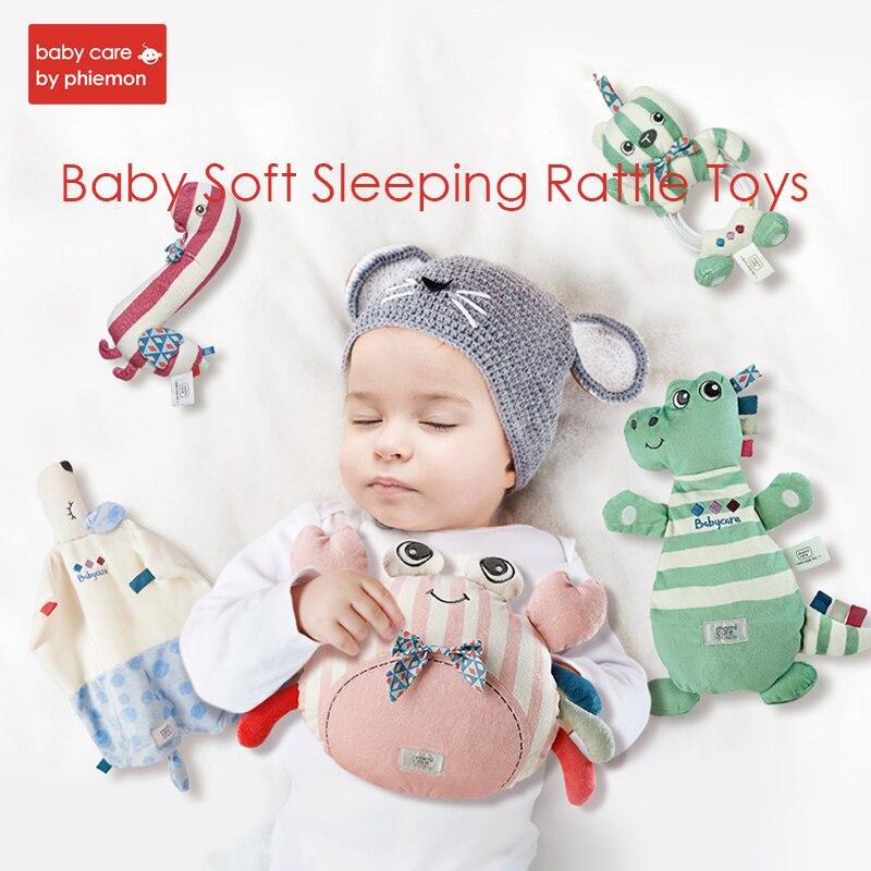 Bébé apaiser serviette hochet jouets animaux de bande dessinée peluche poupée confort marionnette à main avec son papier dormir saisir doux calme poupée