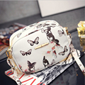 Stylish  Flowers And Butterfly Parrten Lady Clutch Bag Adustable Handle Women Leather Bags Tassel Zipper  Women Messenger Bags