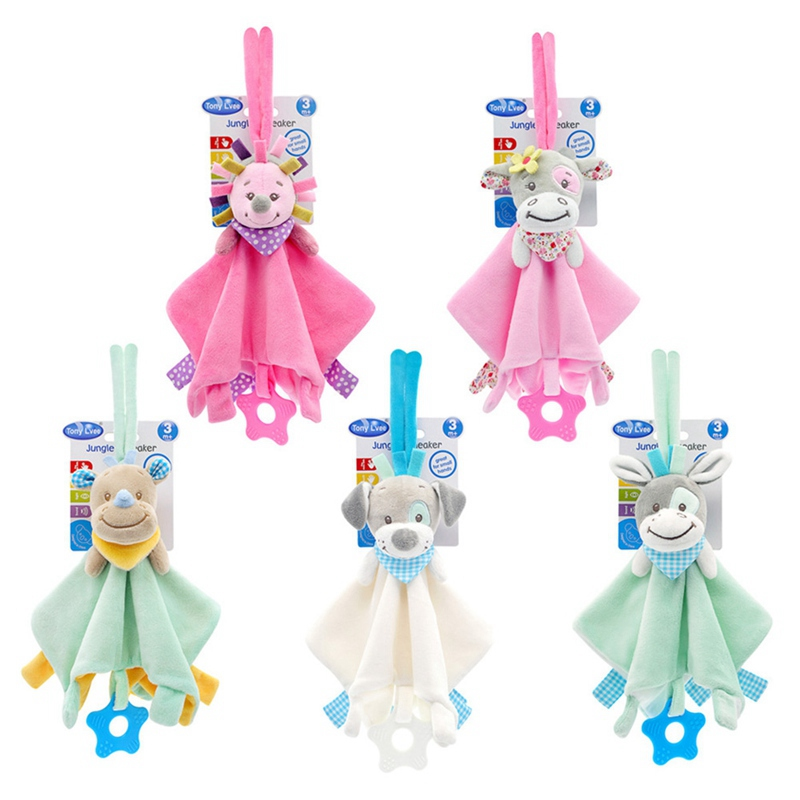 Lovely Baby Soft Plush Animal Doll Toy Teethers Infant Appease Towel Grasping Rattles Playmate Calm Toys