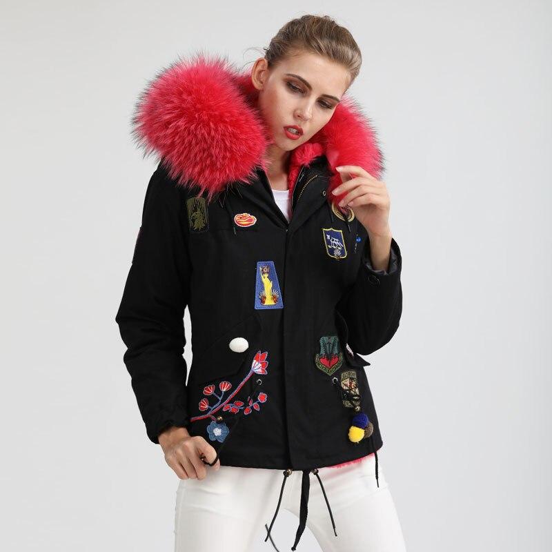 Couleur Veste Grand Parka Noir Décoration Sexy Fourrure Style Hiver Col Femmes 2017 Badge De xC4TIgCqw