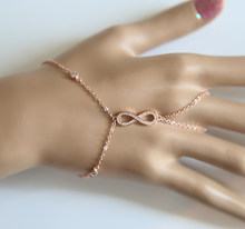 Hot Brand Woman 2017 new rose gold color link chain bezel cz infinity charm hand jewelry fashion bracelet with ring(China)