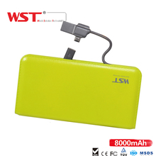 WST 8000mAh Ultra Thin PowerBank Built-in Charging Cable External Battery Pack Fast Charge For IOS Android