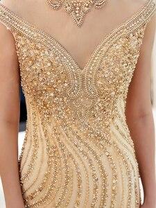 Image 5 - Złote suknie wieczorowe spacer obok ciebie syrenka wyszywana kryształkami bez rękawów Sukienka Wieczorowa Vestidos Formales królewska suknia Wieczorowa