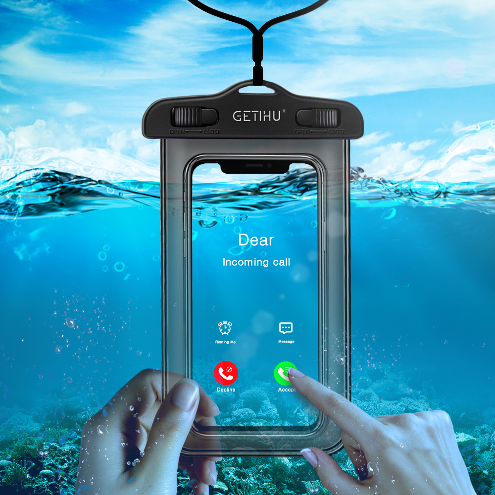 GETIHU Universal Waterproof Case For iPhone X XS MAX 8 7 6 s 5 Plus Cover Pouch Bag Cases For Phone Coque Water proof Phone Case scuba dive light