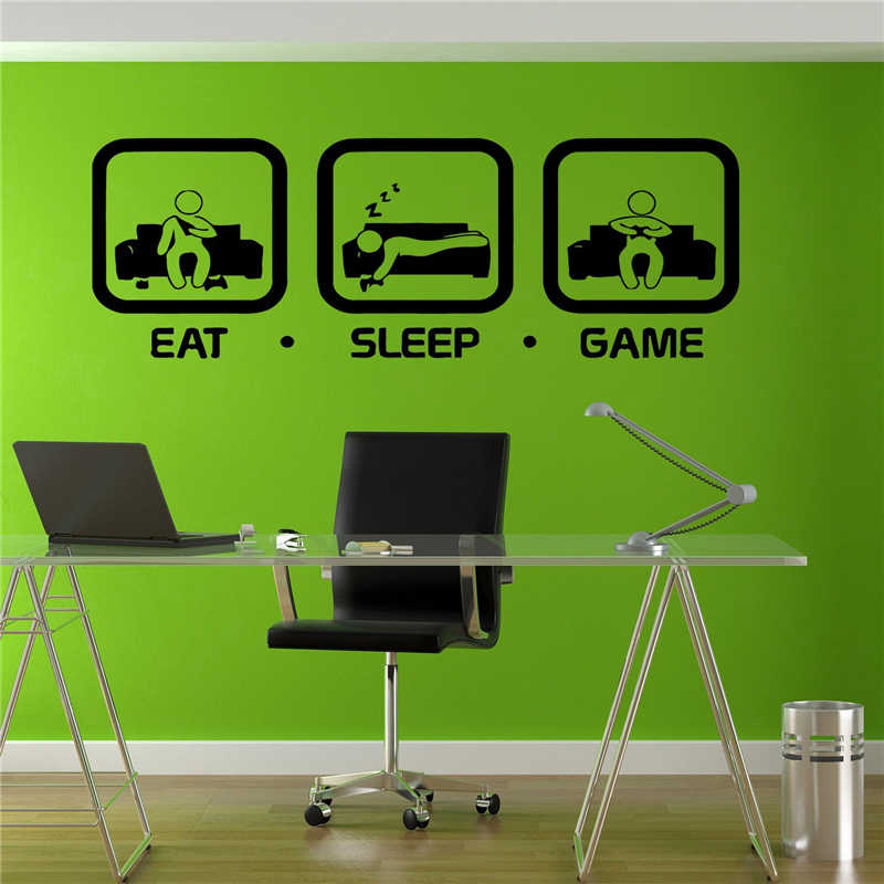16.9 x14.6 Game Controller Video Game Wall Decals for Kids Gamer Eat Sleep Game Repeat Wall Sticker for Boys Playroom Decor Bedroom Wall Decal Decoration
