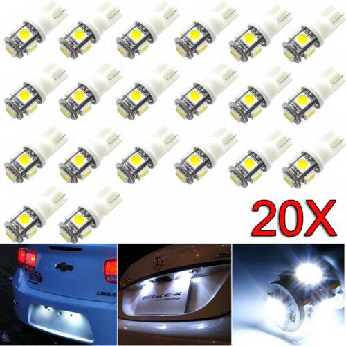 20X Auto Car White LED Light T10 10SMD Wedge W5W 2825 158 192 168 194 LED