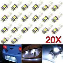 20X Авто белый светодиод для автомобиля свет T10 10SMD Клин W5W 2825 158 192 168 194 светодиодный лампы