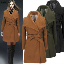 Long Winter Coat Women new Fashion Casual Vintage Belt Solid Jackets Blazers Elegant Office Ladies C