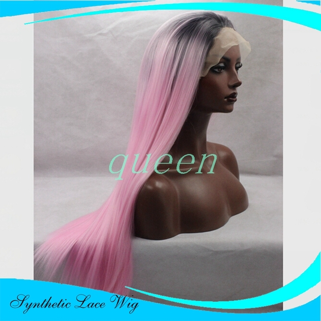 150% Density Black Ombre wigs Synthetic Wig Long Straight Dark Root Ombre Pink Front Lace Wig Heat Resistant Hair Wigs For Women
