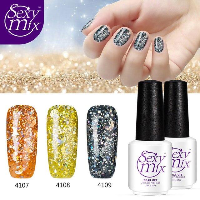 Sexymix 3pcspack Yellow Color 3d Glitter Gel Nail Polish Semi