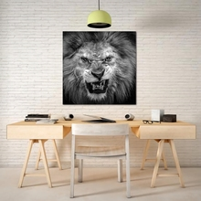 Laeacco Canvas Calligraphy Painting Nordic Black and White Wall Art Lion Animal Posters Prints Home Living Room Decoration